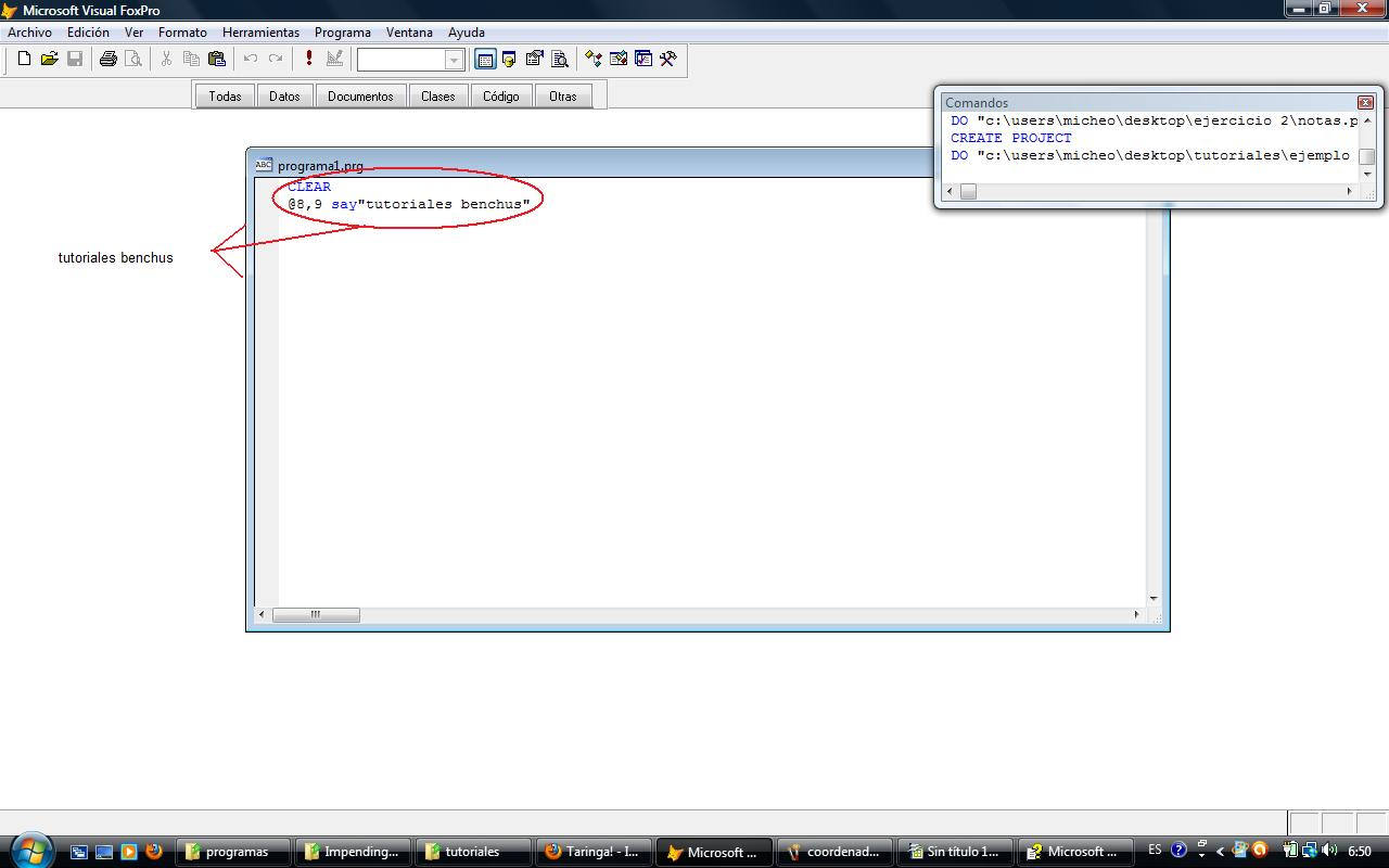 Tutorial 1 Empezando a utilizar Foxpro 9.0(comandos basicos)